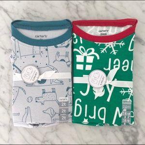 Carter's 2T Christmas & dog pajamas